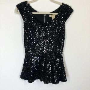 Arden B. Sequin Peplum Party Top Size Small